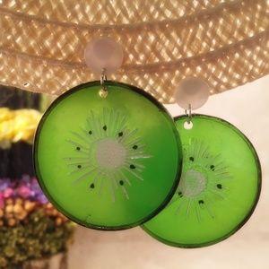 Acrylic Kiwi Fruit Earrings Post Pierced